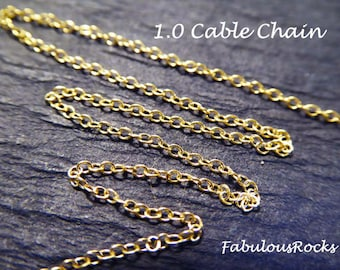 10-100 ft, 1.0 mm Gold Filled Chain, Cable Link Chain, 25% Less Bulk, wholesale chain delicate ssgf llc sgf9 solo