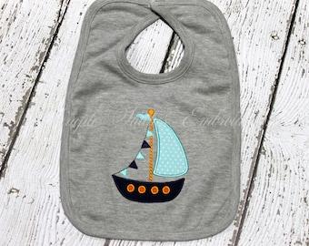 Monogrammed Sail Boat Bib