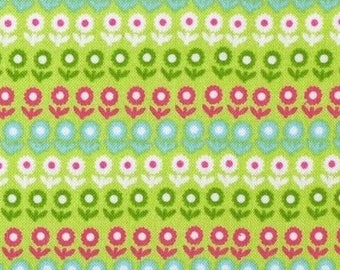Flowers green patchwork fabric