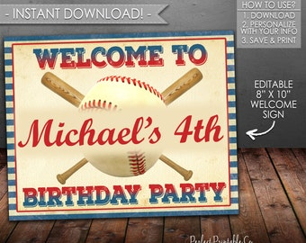 Baseball Welcome Sign, Baseball Birthday Sign, Baseball Name and Age Sign, Red and Blue, Printable, Instant Download, Editable PDF File #545