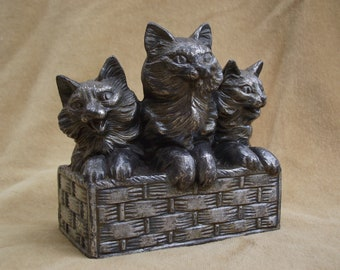 Adorable French vintage Spelter statue of 3 Cats in a basket, Circa 1930.