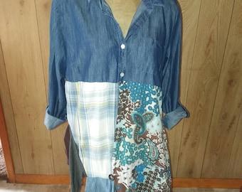 upcycled clothing Lagenlook layered shirt dress Boho upcycling tunic