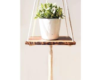 Macrame Plant Hanger, Macrame Hanging Shelf, Walnut Wood Live Edge, Hanging Shelf, Plant Holder, Hanging Planter, Wood Shelf, Modern Macrame