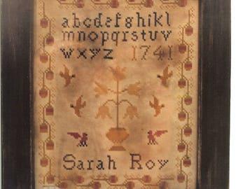 Primitive cross stitch, sampler chart/pattern,primitive needlework, schoolgirl sampler, early American , Sarah Roy