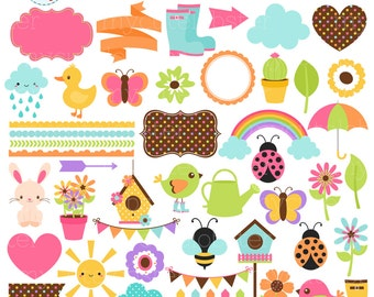 Spring Time Clipart Set - digital elements - rainbow, frames, borders, bunting, bees - personal use, small commercial use, instant download