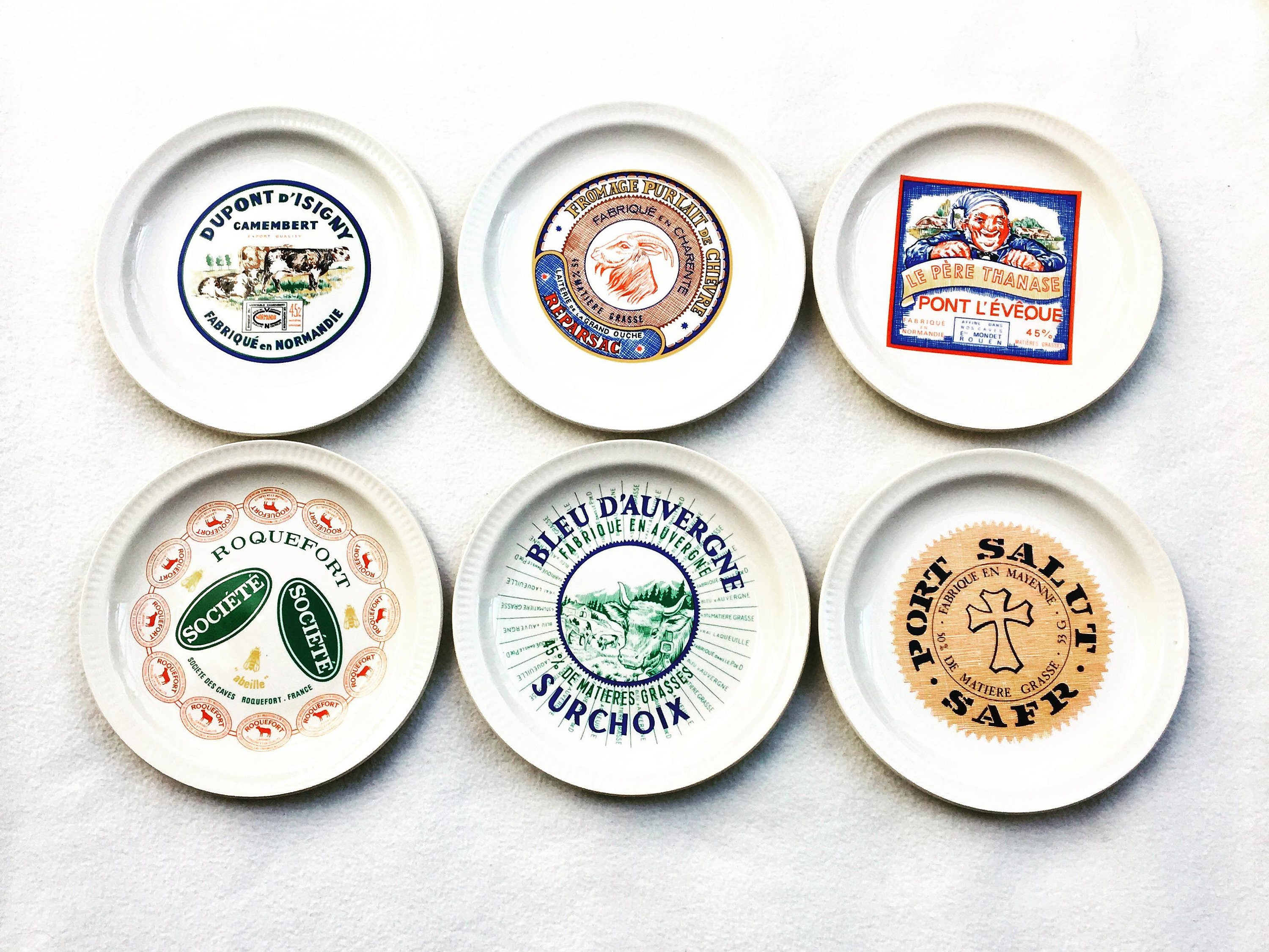 French Cheese Plates France Advertising of the Brands 6 Plates Saint-Amand 1950s Vintage French cheese plates Gift for Him Gift for Her  sc 1 st  VintagechicBruxelles & French Cheese Plates France Advertising of the Brands 6 Plates Saint ...