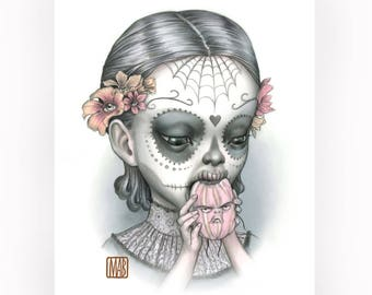 Dia Girl Print - Just One Bite - Calaveras signed 8x10 Pop Surrealism Fine Art Print - by Mab Graves