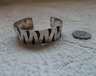 Vintage Mexican Sterling Silver and Black Enamel Zebra Print Cuff Bracelet