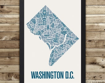 Washington D.C. Neighborhood Map Print, washington dc wall art, washington dc typography map, washington dc poster, washington dc gift