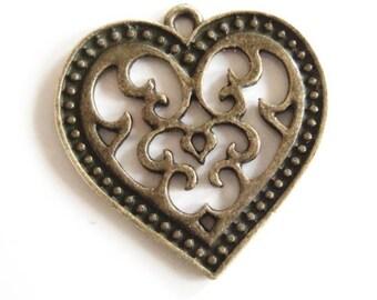 Bronze metal openwork heart - 27 x 27 mm - pendant - charm