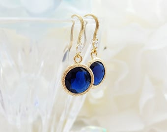 Sapphire Blue Earrings - Navy Earrings - Sapphire Earrings - Blue Crystal Drop Earrings - Blue Bridesmaid Jewelry September Birthstone E2547