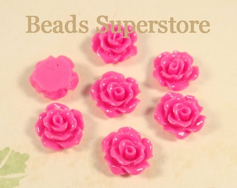 FINAL SALE 11 mm Magenta Flat Back Resin Cabochon - 10 pcs