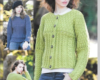 New original Wendy knitting pattern for a ladies cardigan and jumper / sweater using chunky wool - to fit sizes 32 ins - 50 ins