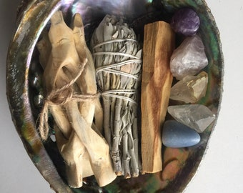 """6-7"""" abalone shell smudge set with stand and crystals palo santo"""