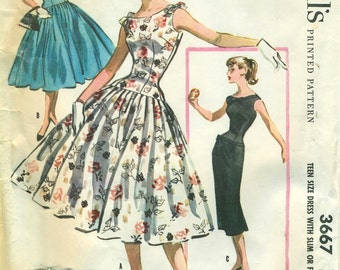 McCall's 3667 Drop Waist Sheath or Pleated Skirt Dress 1950s ©1956