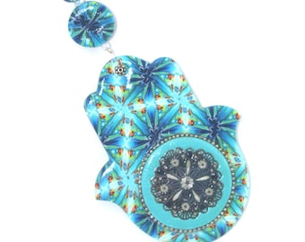 Wall decor Hamsa, Polymer clay Hamsa, Good fortune Hamsa in blue, white, turquoise, green together with small red and yellow dots