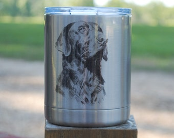 10 Ounce Stainless Steel Lowball, Labrador