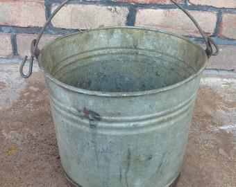 Rusty Galvanized Bucket, Primitive, Rusty Metal Decor, Large Rustic Pail, Industrial, Farm House Decor, Rustic Wedding Decor, Rustic Planter