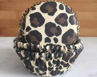 Leopard Print Cupcake Liners, Standard Sized, Baking Cups (50)