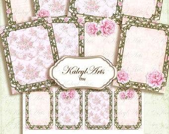 romantic paper set, stationery, ATC, b 6, roses, pink, vintage, shabby chic,invitation,greeting card,nostalgic,victorian,epherma,diary pages