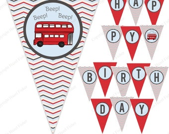 Wheels on the Bus Birthday Bunting - printable happy birthday party banner, red London bus - Digital Instant Download PB022