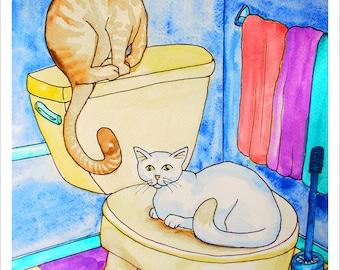 Downloadable Print, Cats in the bathroom, Color Pencils