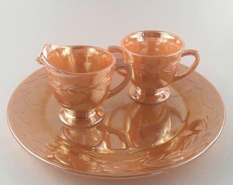 Fire-King Peach Lusterware Creamer and Sugar with Serving Plate, Laurel Leaf Pattern, Vintage Lusterware Sugar Creamer and Serving Plate