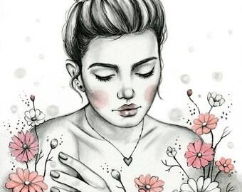Daisy Daydream Pencil Pen Drawing - Fine Art Print by Emily Luella