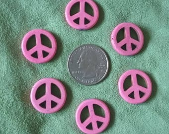 Six (6) pink dyed howlite peace sign beads, 19mm across