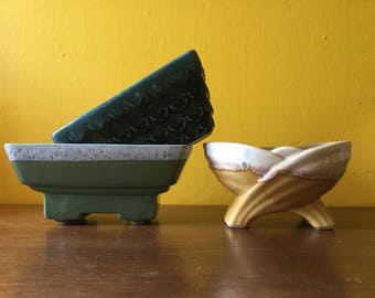 Vintage Planter Set Green Yellow MCM