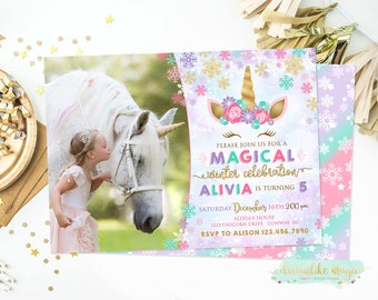 Winter Unicorn Invitation, Unicorn Invitation, Snow Magical Birthday Invite, Girl Birthday, Unicorn Party, Winter Birthday, Photo Invite