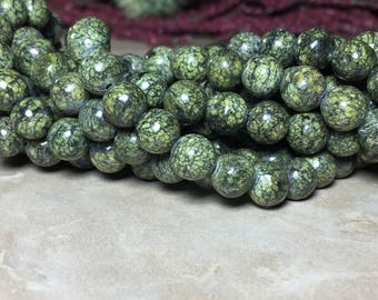 8mm Russian Serpentine Gemstone Round 8mm Loose Beads 15.5 inch Full Strand, Russian Serpentine Gemstone, Serpentine