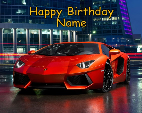 Lamborghini Lambo Car Edible Image Cake Topper Personalized