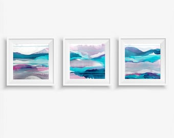 Set of 3 Digital Prints, Abstract Printable Art, Abstract Triptych Art Prints, Square Prints, Blue Purple White - Meditations on Clarity 1-3