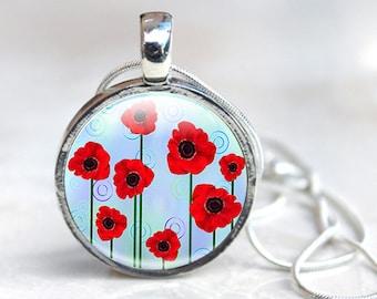 Poppy Jewelry - Glass Poppy Jewelry - Red Poppy Jewelry