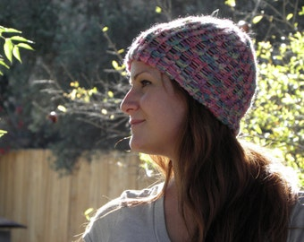 Hand Loom-Knitted Beanie in Pastel Multi-Colored (item #8)