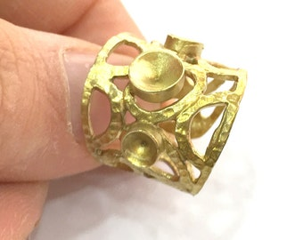 Raw Brass Adjustable Ring  (4mm and 5mm Blank) , Bezel Settings,Cabochon Base,Mountings G3240