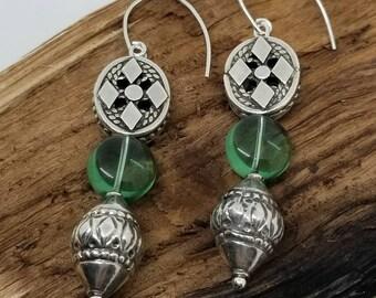 Sterling Silver earrings/Sea glass earrings/boho earrings/dangle earrings/gypsy chic jewelry/beaded earrings/tribal jewelry/summer earrings