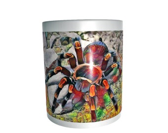 brachypelma hamorii mexican red knee tarantula spider ceramic coffee tea mug cup painted image ideal gift for keepers