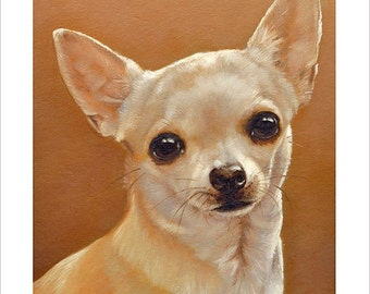 Chihuahua Dog Portrait by award winning artist John Silver. Personally signed A4 or A3 size Print. CH001SP