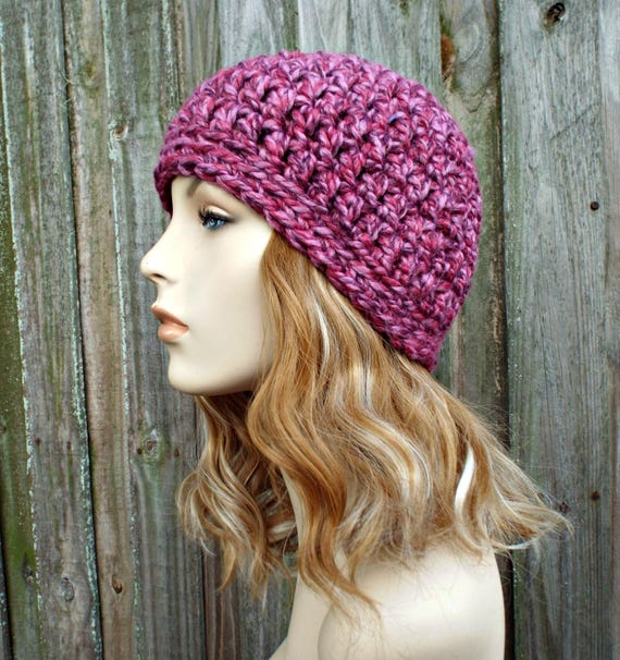 Wild Strawberry Pink Beanie - Pink Crochet Hat Pink Womens Hat Pink Mens Hat - Warm Winter Hat - Pink Hat - READY TO SHIP