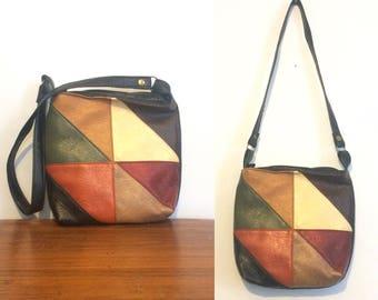 Vintage 60s 70s Colorblock Purse / Patchwork Festival Bag / Colorful Tote Satchel