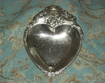 Silver plated heart dish, Vintage ornate floral dish, Bon, Bon candy dish