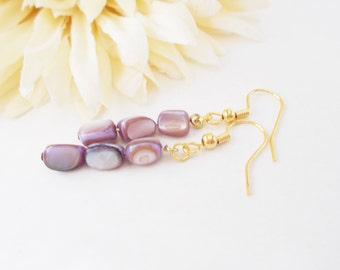 Mother of Pearl Jewelry, Lavender Earrings Bohemian Earrings Boho Jewelry, Mothers Day Gift for Girlfriend, Best Selling Items, Aunt Gift