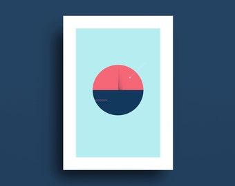 Geometric Landscape, Blue Red Home Decor, Ocean Art, Sea Art, Seascape, Shooting Star, Night Art, Minimal Art, Summer, Abstract Print