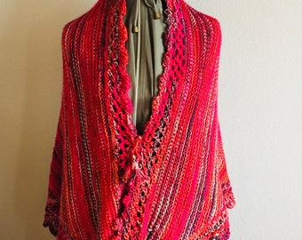 Hand Knitted Red Shawl