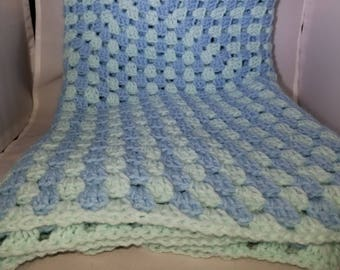 Blue and Green Baby Blanket - Granny Square