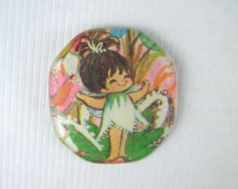 vintage 1960s PIXIE Brooch - elf, fairy, faerie, sprite in MOD tulip dress, nymph