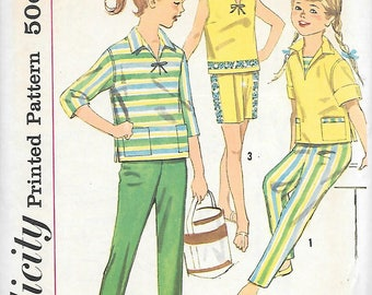 Simplicity 3524 UNCUT 1960 Girls Sailor Top Shorts and Ankle Pants Vintage Sewing Pattern Size 8 Breast 26