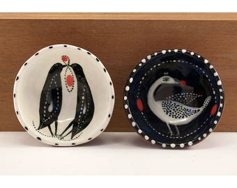 Set of Birds - Ceramic Bowl Set - Original Painting by Jenny Mendes in two Hand Pinched Ceramic Finger Bowls